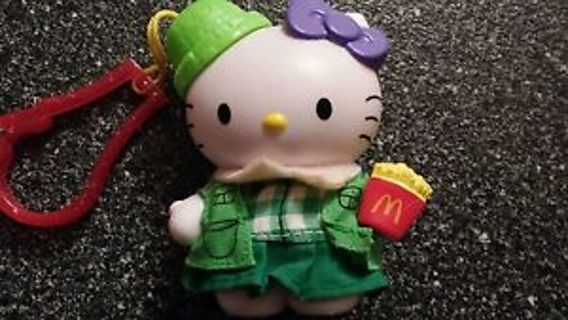 Hello-Kitty-McDonalds-Green-Picnic-Key-Chain-Backpack-