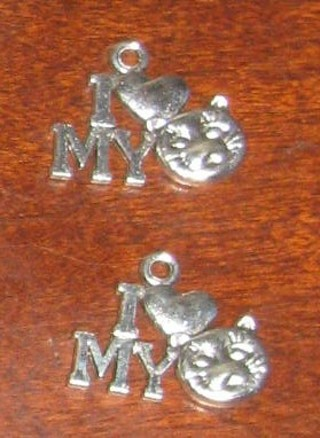 2 I love my cat silver charms