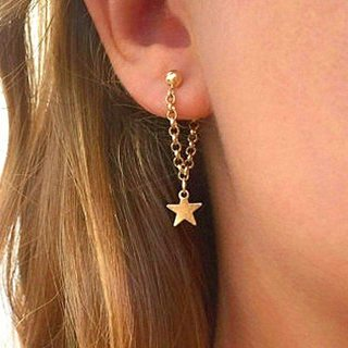 Women Fashion Temperament Star Chain Gold Earrings Creative Wedding Jewelry Accessories Lover Gift