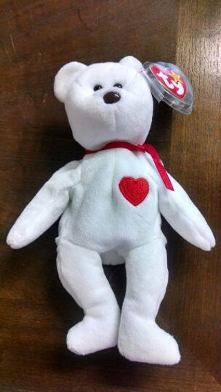 Free  TY Beanie Baby Valentino White bear with red heart - Dolls ... 9c8b699ea4c2