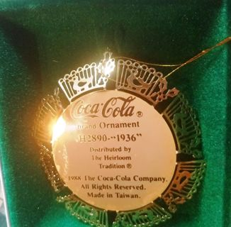 "Vintage Coca Cola ""Through the Years"" ""1936"" Ornament (1988)"