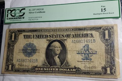 1923 $1 Large Silver Certificate PCGS F15