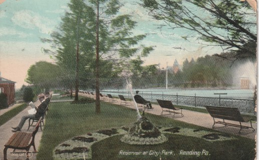Vintage Used Postcard: 1909 Reservoir at City Park, Reading, PA