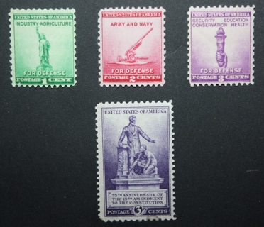 1940 U.S. Stamps - SC899, 900, 901, 902 - National Defense Issue - Mint, Unused, NH, OG