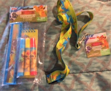 "BNWT ""Disney, Lion Guard Set: 5 Piece Stationery Set AND  18"" Lanyard For Keys, ID, etc."