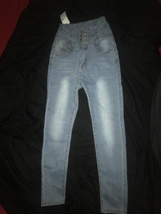 Women's High Waist Jean Pants  Stretch Pencil Denim Jeans  Solid Color — Slim Skinny Long