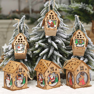 [GIN FOR FREE SHIPPING] Festival Led Light Wood House Christmas Tree Decor Hanging