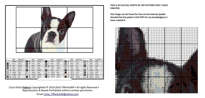 Bosten Terrior Dog Cross Stitch Patterns ***WINNERS CHOICE***