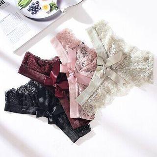 Floral Briefs Underwear Lingerie G-string Panties Women's Crotchles Thongs Lace