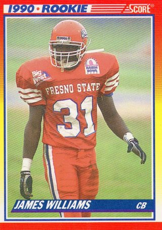 Free 1990 Score Rookie Football Card James Williams