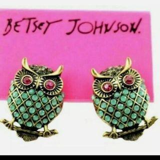Betsey Johnson Green owls studs earrings New free ship