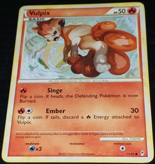 ⚡ Pokemon Card Vulpix  ⚡ 75/95 50 HP Common Call of Legends
