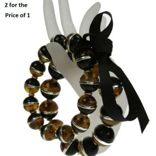 Coldwater Creek bracelet large sm black amber 2 row stretch 2 for 1 bangle NWT