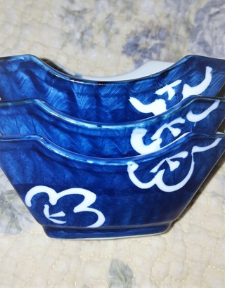 3 Gorgeous Cobalt and White Oriental Dishes