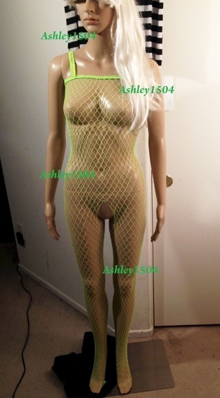 NEW Fishnet Lingerie Body Stocking One-Piece Bodycon Green FREE SHIPPING