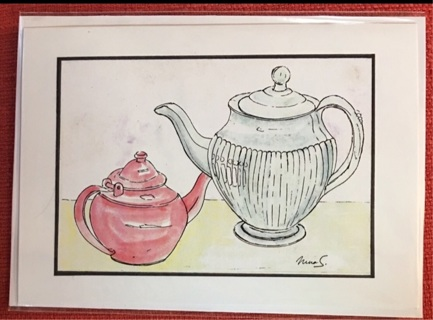 "TEA FOR TWO - 5 x 7"" art card by artist Nina Struthers - GIN ONLY"