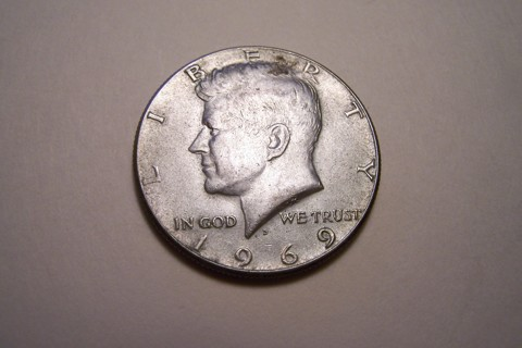 Silver 1969-D Kennedy Half Dollar JFK