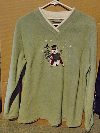 Ladies Top -  Olive Fleecy Top with Snowman Applique - Sz L