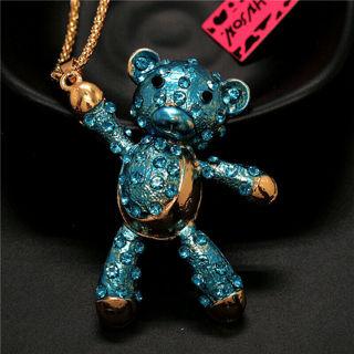 ❤️Betsey Johnson Blue Crystal Enamel 3D Teddy Bear  NecklaceNEW