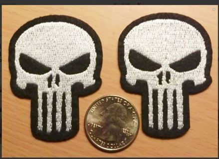 PUNISHER Skull Logo IRON On Patches Clothing Embroidery Patch FREE SHIPPING