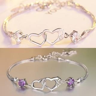 [GIN FOR FREE SHIPPING] 925 Sterling Silver Austrian Zircon Heart Bracelet