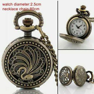 Antique Quartz Pocket Watch Vintage Necklace Steampunk Pendant Chain