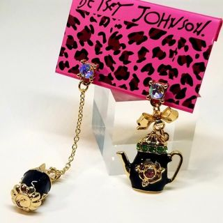 Black Enamel Crystal Teapot Cup Betsey Johnson Dangle drop Stud Earrings, New free ship