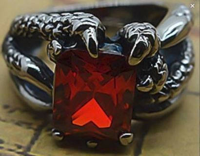 Ruby Dragon's Claw Ring .925 Sterling Silver Plated Ruby Zircon biker punk goth jewelry