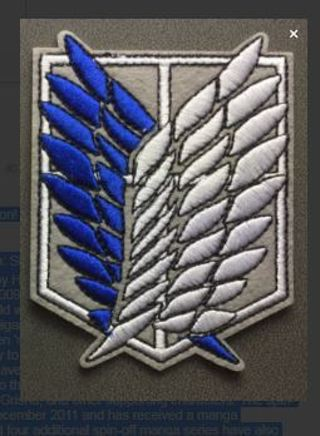 1 Attack on Titan IRON ON Patch Anime Manga Applique Badge Embroidered Adhesive FREE SHIPPING