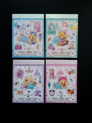 "Q-Lia '2020' ""Little Fairy Tale Story"" Set of 4 Mini-Memo Pads + *24* Memos & More ☆Kawaii Bonuses☆"