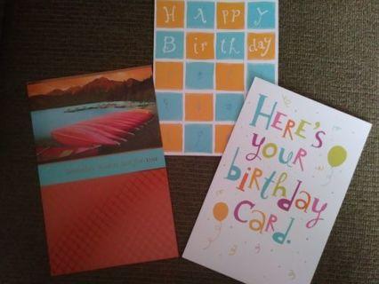 Three different bday cards plus bonus card