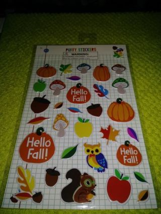 """❤✨❤✨❤️1 BRAND NEW """"FALL"""" PUFFY STICKER SHEET(31 STICKERS TOTAL)❤✨❤✨❤ONLY 1!"""