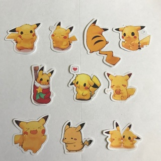 Pikachu Pokemon High End Sticker Flakes Set Of 10 NEW