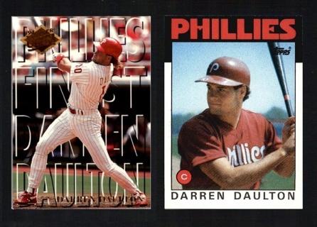 Darren Daulton 2 different Cards - 1994 Fleer Ultra Phillies Finest & 1986 Topps RC