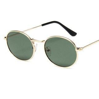 Small Frame Sunglasses Women Oval Mirror Metal Sun Brand Designer De Soleil Femme