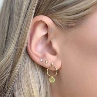 4 Pcs/set Women's Classic Rhinestone Geometric Pendant Simple Round Crystal Gold Earrings