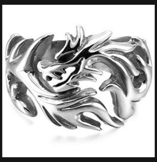 Dragon Clan SILVER Tone Ring .925 Sterling Silver Plated Mens Jewelry FREE SHIPPING