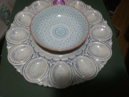 1980's Homemade Deviled Egg Glass Dumpling Relish Serving Plate