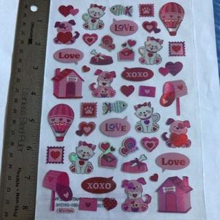 ★♚ Valentines Pets Cats and Dogs Love Shiny Kawaii Sticker Sheet BRAND NEW 1/2 Epoxy ♚★