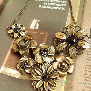 [Gift to get seller Wings]Gorgeous Vintage With Black Rhinestone Bronze Chain Pendant Retro Necklace