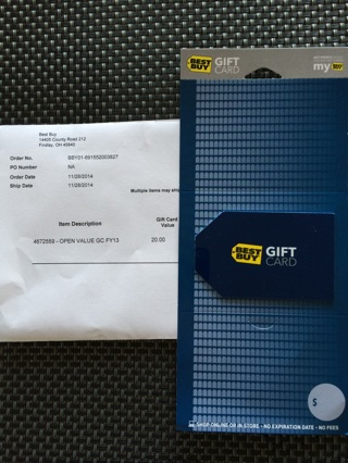 $20 Brand-new Best Buy gift card Unscratched & Mailed *GIN 38888*