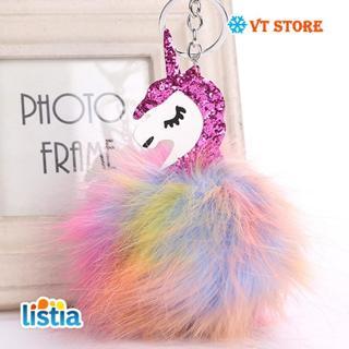 Juelee Colorful Fluffy Unicorn Keychain Pompom Rabbit Fur Key Chain for Women