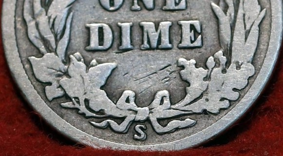Major Double Die Reverse S/S & Bow-1916-S *Barber Dime-90% Silver-Please LQQK-