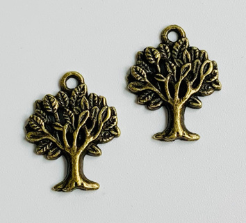 2 pcs TREE of LIFE Bronze Tone Charms Pendants, 20mm x 17mm, Brand NEW!