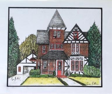 "BRICK TUDOR HOUSE  -  5 x 7"" art card by artist Nina Struthers - GIN ONLY"