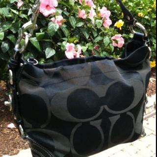 c82ed8ebc5e8 Authentic Coach 13009 Signature C Sateen Carly Purse Black Fabric Leather  Handbag MSRP  348