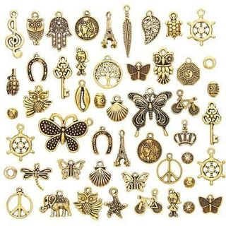 50pcs/set Antique Gold Mixed Styles Pendants DIY Jewelry for Necklace Making