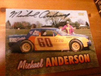 Autographed michael anderson race car postcard