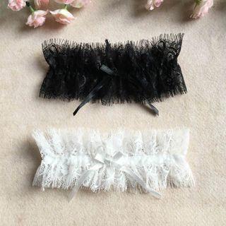 2x Hot Sexy Lace Elastic Eyelash Soft Bowknot Wedding Bride Leg Garter Belt Harness