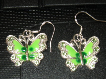 Beautiful Green Butterfly Earrings